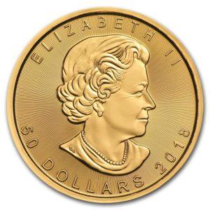2018年のメイプルリーフ金貨の表面