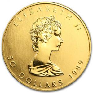 1989年のメイプルリーフ金貨の表面