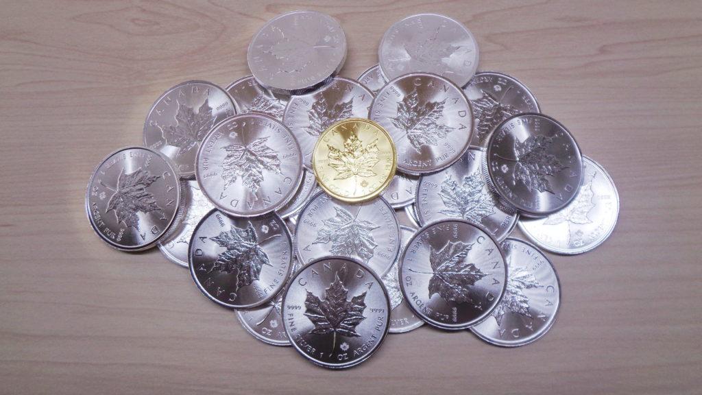 銀貨の山の上に金貨