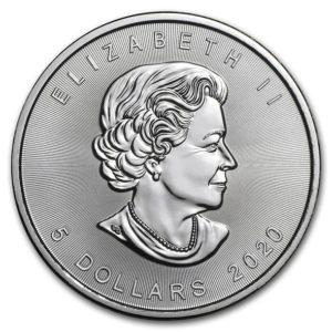 2020年メイプルリーフ銀貨表面