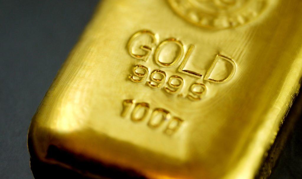 金地金(ゴールドバー)のアップの写真